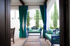 Add style & privacy with outdoor curtains which can be pulled closed to block views, provide privacy from neighbors and shade from sun
