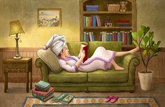 Reading woman