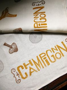 French Country Champignon linen tea towel by giardino on Etsy. , via Etsy. Stamp Printing, Fabric Printing, Gifts For Photographers, Square Photos, Homemade Christmas Gifts, Printed Linen, Textile Prints, Graphic Design Inspiration, Tea Towels