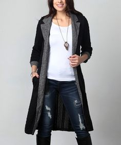 Look what I found on #zulily! Black Cable Knit & Charcoal Notch Lapel Long Cardigan - Plus #zulilyfinds