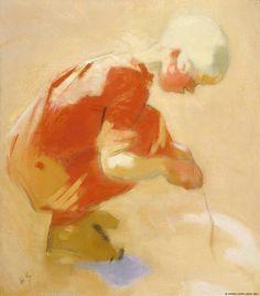 Helene Schjerfbeck - Tyttö hiekkakuopassa, 1912 Helene Schjerfbeck, Painting People, Figure Painting, Illustrations, Illustration Art, Kunst Online, Canadian Art, Art Plastique, Figurative Art
