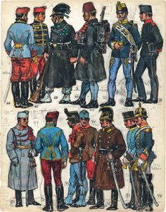 "66. Officer, Lancers; 67. Corporal, 5th, 9th, 11th or 13th Hussars; 68. Private, Tiroler Kaiserjäger; 69. Private, Bosnia-Herzegovena Infantry; 70. Drum Major, Hungarian Infantry Regiment No. 16; 71. Private, German Infantry Regiment No. 86; 72. Gunner, Artillery. Extract from: AE Haswell Miller & John Mollo. ""Vanished Armies."""