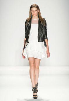 Black Bicker Jacket over Mini White Dress  Black Biker JacketTrend forSpring Summer 2013.  Nicole Miller Spring Summer 2013 #Fashion #Trends