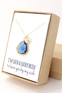 Navy Blue / Gold Teardrop Necklace Navy Bridesmaid by ForTheMaids