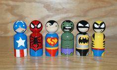 6 Wooden Superhero Peg Dolls by HethrFethr on Etsy, $48.00