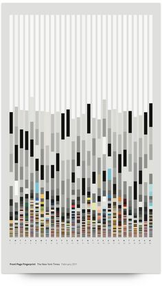 ▶▶▶ Front Page Fingerprint // Data visualisation made with the Processing language. The formal elements of the New York Times front page such as white space, headline size and length, body copy, imagery and color palette are shown for each day. 3d Data Visualization, Information Visualization, Web Design, Design Show, Chart Design, Design Trends, Time Design, Gig Poster, Design Poster