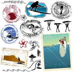 Ride the wild surf Royalty Free Stock Vector Art Illustration