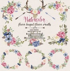 Watercolor flower wreaths/bouquets  @creativework247
