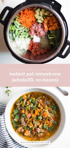 Instant Pot Minestrone No-Beans) is packed with protein and veggies and makes for the perfect hearty one-pot meal. A gluten-free dairy-free paleo friendly recipe. Dairy Free Bread, Dairy Free Snacks, Dairy Free Breakfasts, Dairy Free Diet, Gluten Free, Paleo Recipes, Real Food Recipes, Paleo Meals, Yummy Recipes