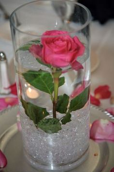 My DIY short centerpiece Submerged :  wedding centerpiece red rose short submerged 384