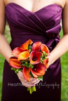 orange calla lily, hypericum berries, bouquet, purple dress, wedding - flowers by Stylish Blooms in CT