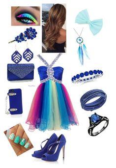 """Rainbow Blue Prom"" by emmexoxoxo ❤ liked on Polyvore featuring Lipsy, Dasein, BCBGMAXAZRIA, Johnny Loves Rosie, Swarovski and Mata Traders"