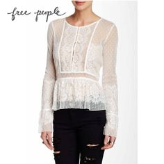 """""""Lace Peplum Henley"""" top from Free People. Button closure at front, peplum style waist. Lace Peplum, Peplum Blouse, Girl Fashion, Fashion Design, Fashion Trends, Romantic Lace, Fashion Boutique, Free People, Outfits"""