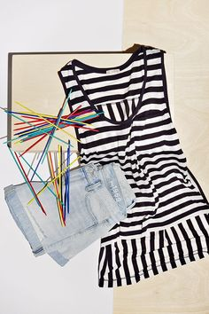 Make a bold move in black and white stripes and classic Gap denim. Repin to play along!