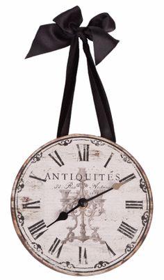 Ribbon Antiquites Clock Paris Shabby French Country Round Hanging Chic Decor   eBay