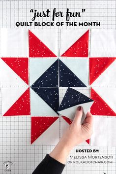 Announcing the Just for Fun Quilt Block of the Month Today I'm excited to introduce you to our new Block of the Month Quilt pattern, the Just for Fun Quilt! A few years ago I hosted a block of the month program. Quilting For Beginners, Quilting Tutorials, Quilting Projects, Quilting Designs, Triangle Quilt Tutorials, Quilt Design, Star Quilt Patterns, Pattern Blocks, Star Quilts