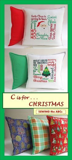 SANTA Claus is Coming to Town . . . Rockin' Around the Christmas TREE . . .Add one or two of these New pillows to your Christmas Decor . . . Humm along as you Await Christmas Day! DON'T WAIT! Get it NOW! Embroidered Pillow Cover . . $26 . . by SEWING the ABCs on Etsy. . . SIGN-UP for Email Notifications at www.sewingtheabcs.com. #Christmas2015 #ChristmasPillows #HolidayPillows #SantaClaus #ChristmasDecor #ChristmasTree #ChristmasDecorations #EmbroideredPillow #SEWINGtheABCs