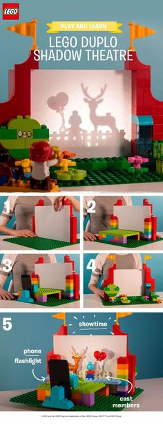 You and your child can make this super cool creation together using LEGO DUPLO bricks, a piece of paper and a cell phone flashlight. Help your child to build a theatre and a stage from LEGO DUPLO bricks. Slip a piece of paper in place to create your shado Lego Activities, Summer Activities, Toddler Activities, Lego Duplo, Legos, Lego Poster, Shadow Theatre, Lego Challenge, Lego Club