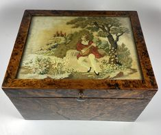 Antique French Needlepoint & Burled Wood Sewing or Work Box, Cigar Box, c. 1830-50