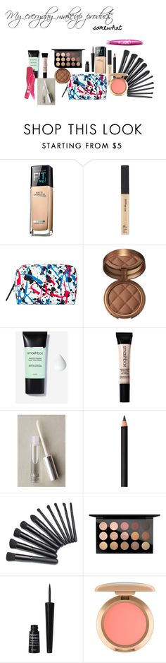 """""""My everyday makeup tools (somewhat)"""" by mysterious-archer on Polyvore featuring beauty, Maybelline, MAC Cosmetics, Laura Geller, Smashbox, FACE Stockholm, COVERGIRL, INIKA and Revlon"""