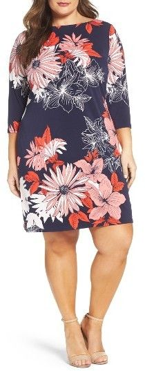 Plus Size Floral Crepe Shift Dress