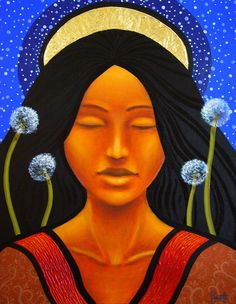 Our Lady of seeds - Aaron Paquette (Metis) Nativity Painting, Claudia Tremblay, Native American Beauty, Airbrush Art, Indigenous Art, Aboriginal Art, Deviantart, Native Art, Archetypes