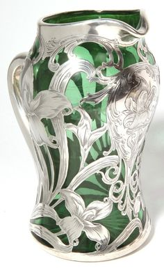 Alvin Sterling Overlay on Green Glass Pitcher