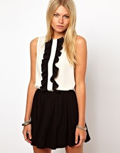 ASOS Sleeveless Blouse With Ruffle Front