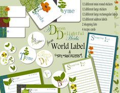 Herb Jar Labels and recipe cards FREE,  awesome by http://shysocialites.blogspot.com Download them at blog.worldlabel.com