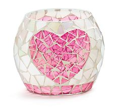 """#burtonandburton Small pearlized mosaic candleholder with pink heart in center. Small trim on bottom is pink.  Height: 4""""  Opening: 3"""""""