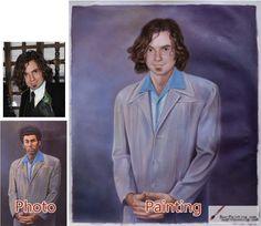 Custom oil portrait-A man with curly hair