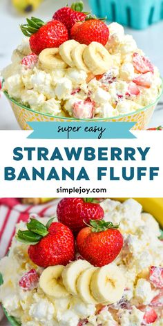 My Strawberry Banana Fluff Salad is such an easy and fun dessert. Simple enough for kids to make! 🍓 🍌