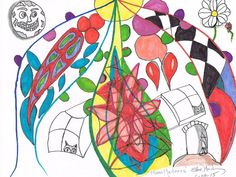 Moon Madness with color Pencil markers used copy paper small original abstract art #Abstract