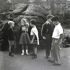 Vivian Maier, Untitled, 1954, Children with Jar. #streetphoto #vintage #artSelecta