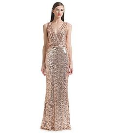 90a5ad78548 Belle Badgley Mischka Sleeveless V-Neck Sequined Gown