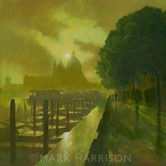 """Autumn in San Marco"". Another view of the Salute. Oil on board."