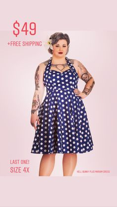 f2e14eae6cf9d Hell Bunny Mariam Navy Rockabilly Spring Swing Plus Party Dress 4X