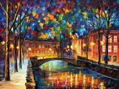 City Bridge 2 — PALETTE KNIFE Oil Painting On Canvas by AfremovArtStudio, $339.00