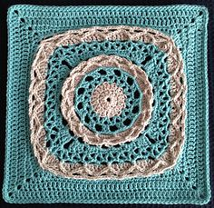 """Anticipation Mystery Afghan 12"""" block by Margaret MacInnis ~ Square #1 for the Moogly CAL 2014"""
