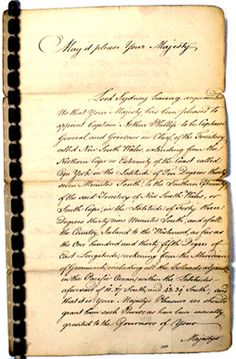 The Draught Instructions for Governor Phillip is the first official communication concerning the occupation and settlement of Australia. It empowers Captain Arthur Phillip to establish the first British Colony in Australia and to make grants of land and issue regulations for the Colony. They comprise a type of founding 'Constitution' for the new Colony.