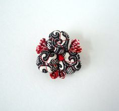 Red and Black Brooch Pin Japanese Kimono Fabric by tomoandedie, $24.98