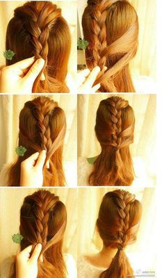 Low ponytail with fake French braid