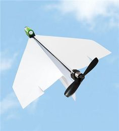 Crash and burn? Not these paper airplanes. A clip-on motor and propeller makes any folded 747 a high-flying success. $20