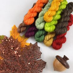 Autumn Mini Sock Set (Set - Hand Dyed Sock/Fingering Weight - 10 Grams Each Nylon 100 Grams Finger Weights, Crochet Necklace, Socks, Autumn, Wool, Trending Outfits, Mini, Unique Jewelry, Handmade Gifts