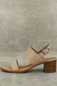 Take a stroll along the Boulevard de la Croisette in the Cannes Natural Heeled Sandals! A vegan leather toe strap is accompanied by a second, wider quarter strap with adjustable silver buckle.