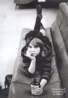 Pattie Boyd By Eric Swayne Circa - A casual pose of Pattie taken by her then boyfriend Eric Swayne. Small photo published in British Vogue, April 2012 issue. Source of scan is the Pattie Boyd. Pattie Boyd, Mary Quant, Eric Clapton, George Harrison, Twiggy, Dandy, Sixties Fashion, Women's Fashion, Gothic Fashion