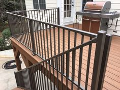 Customer favorite Westbury Tuscany blends of sophistication and strength. These kits make installation simple since rails, balusters, and brackets all arrive to you all in one package. Coordinate Deck Lighting, Gates, or a Continuous Handrail too! Deck Railing Kits, Metal Deck Railing, Deck Railing Systems, Pergola Kits, Backyard Seating, Backyard Patio Designs, Aluminum Handrail, Aluminium, Wall Mounted Handrail