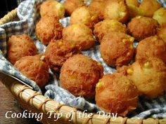 Corn Fritters  (I like to use creamed corn, so reduce the milk to 2/3 cup.  Batter should be thick and scoopable to hold its shape when dropped into the hot oil.)