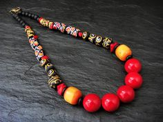 Statement Necklace Tribal Stone Necklace Gemstone Jewelry Quartz African Ghana Krobo Beads Natural Red Coral Chunky Necklace Ethnic Beads
