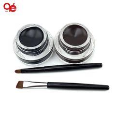 2 in 1 kahverengi + siyah jel eyeliner makyaj ücretsiz kargo su geçirmez freeshipping kozmetik seti göz kalemi makyaj göz